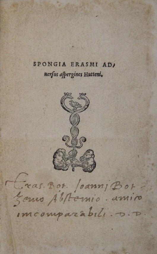 Erasmus' inscription in X. 8 .1. (1).