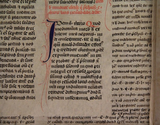A medieval pastedown found in a Queens' OL binding [F.12.15]