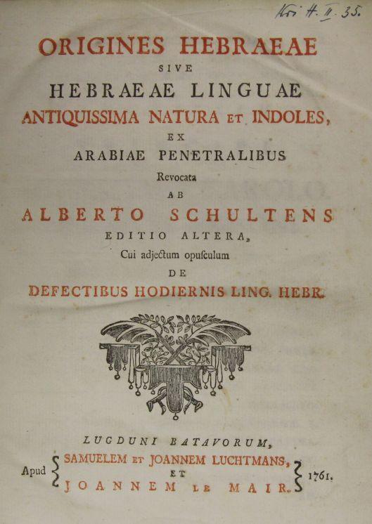 Albert Schultens's Hebraeae Linguae